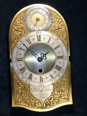 18th c. fusee bracket clock dial Christopher Goddard London 1760 - dial only
