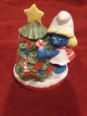 Vintage 1982 Smurf Christmas Tree Figure