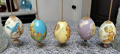 5 Vintage Hand Made Jeweled Decoupage Easter Egg Ornaments Lot #2 SHABBY