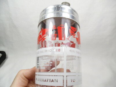 BAR COCKTAIL SHAKER RETRO BARTENDERS RECIPES PAINTED LABEL ACL VINTAGE red white