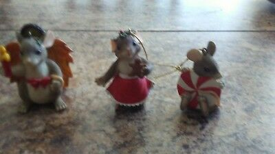 Charming Tails - Christmas Ornaments Lot of 3 - Very Cute!