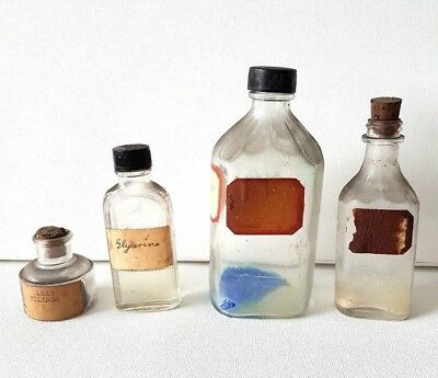 Apothecary Pharmaceutical Clear Bottles - Vintage Lot of 4, lead, estate, poison