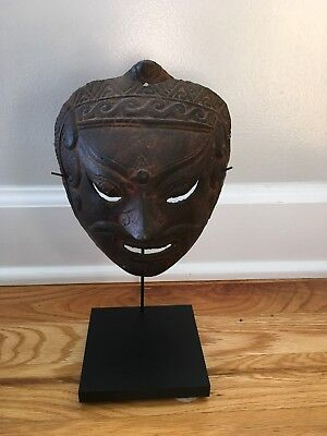 Vintage ASIAN Balinese Indonesian METAL Tribal Warrior Primitive Folk Art Mask