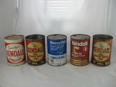 "Lot of 5 Vintage 1 Qt Oil Cans-Kendall ""The 2000 Mile Oil"" - 76 Unical-Rare"