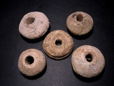 RARE LOT OF 5pcs. TERRACOTTA SPINDLE WHORLS FROM THE BALKANS+++