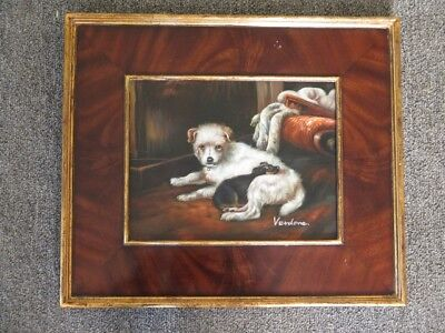 LF44760E: Burl Walnut Frame Puppy Dogs Oil Painting on Board Artist Signed - NEW