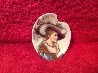 Antique Hand Painted Portrait Butter Pat Elegant Lady w Gold c1800, p256