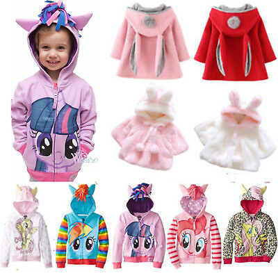 Kid Girl Hoodie My Little Pony Rabbit Ears Hooded Coat Jacket Outewar Clothes