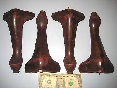 Set 4 Stack Barrister  bookcase Legs Feet Mahogany? Globe Macey Parts Pediments