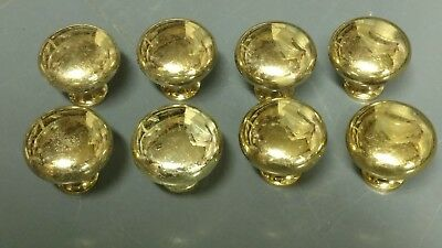 SET OF 8 VINTAGE DRAWER PULLS - Solid Brass -  ROUND BALL CABINET KNOBS