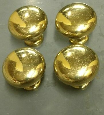 SET OF 4 VINTAGE DRAWER PULLS - Solid Brass -  ROUND BALL CABINET KNOBS