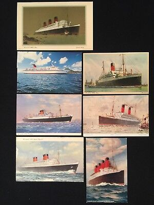 7 Vintage Postcard SHIPS STEAMSHIPS Cunard Line Posted & New ESTATE LOT (#337