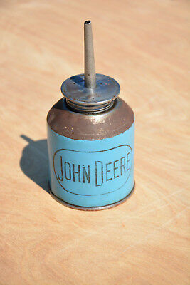 Vintage John Deere Oil Can Antique Oiler Blue JD Advertising Logo Lube Tractor