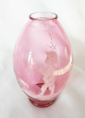 Antique 19th Century Original Mary Gregory Cranberry Glass Vase