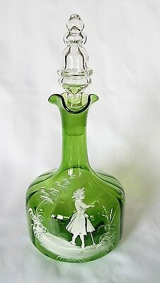 Outstanding Antique 19th Century Original Mary Gregory Emerald Green  Decanter