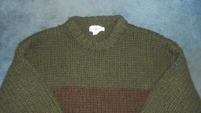 J Crew 100% Wool Large Sweater Thick Green Brown