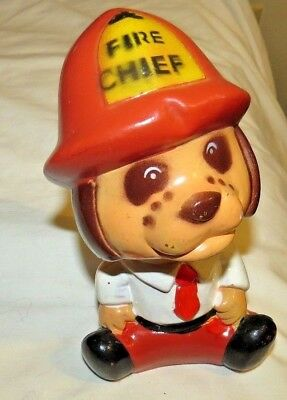 "Vintage Fire Dog Fire Chief Coin Bank Money Piggy Bank 1970's -(7"" Tall)"