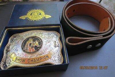 California Rancho Arabian Horse Show Champion Belt Buckle + Free Belt