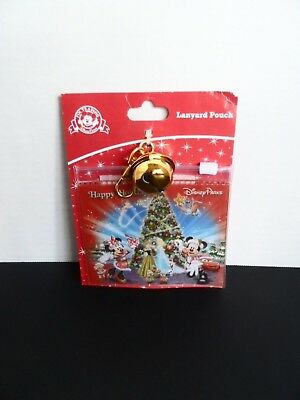 Disney Parks Happy Holidays Christmas Pin Lanyard Pouch ID Tickets Cash New NWT