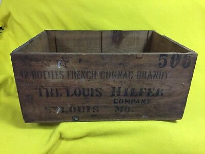 Vintage 1960 Louis Hilfer Company French Cognac Wooden Crate Hennessy