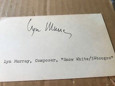 "Lyn Murray Autograph, Movie Music Composer, ""Snow White And The 3 Stooges"""