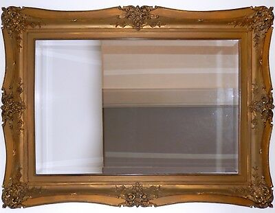 Antique Gold Gilt Picture Frame Mirror VICTORIAN Hand Carved Border DOUBLE 1850s