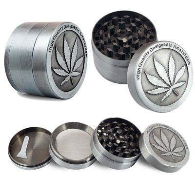 Tobacco Herb Grinder Spice Herbal Alloy Smoke Crusher 4 Piece Chromium HOT US