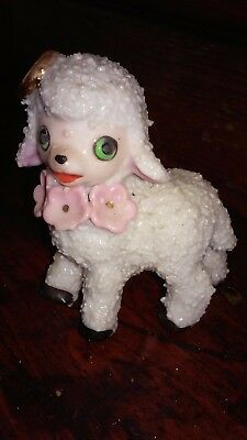 Vintage Anthropomorphic Standing Salt Sugar Glazed Textured Lamb-Japan
