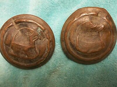 Antique very old bald eagle copper head bridle rosettes with lead back-2 1/4 in.