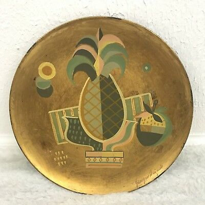 Vtg Georges Briard Handpainted Metal Plate Pineapple Strawberry Midcentury RARE*