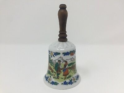 Walkure SPM Porcelain Bell Wooden Handle Mountain Couple Scene Floral Germany