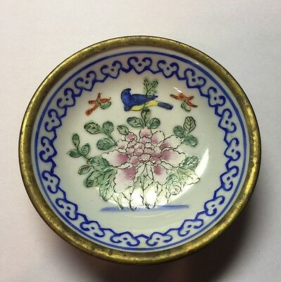 Vintage Blue & White Pottery Chinese Dish Brass Covered Bird Butter Pat