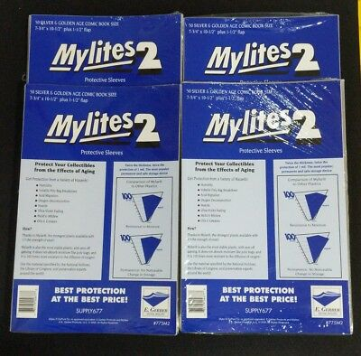 200 E. Gerber Mylites 2 Mil Mylar  Silver & Golden Age Comic Book Sleeves 775M2
