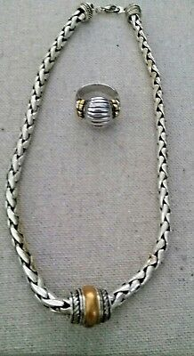 VINTAGE ESTATE Jewelry HIGH END SILVER MOGHUL NECKLACE & RING sz 9