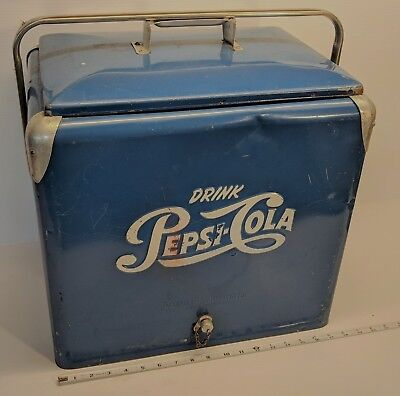 Vintage 1950's Blue and White Original Pepsi Cooler with Tray, Lid, Drain Plug