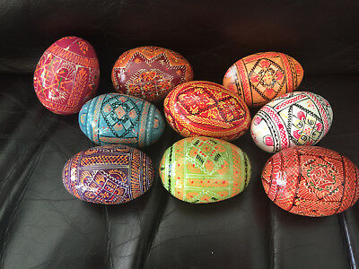Ukrainian Set 9 Pysanky Wooden Painted Large Chicken Size Easter Eggs