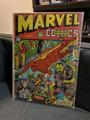 🔥Marvel Mystery Comics 34 GD Schomburg cover! Missing centerfold. Not cgc 👹