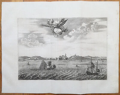 Dapper Large Original View Fortress of Mina Ship Africa - 1686