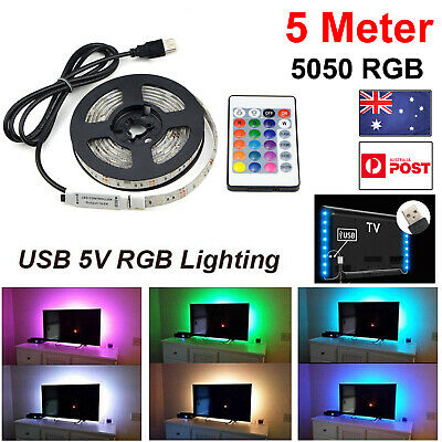 1/2/3/4/5M USB LED Strip Light RGB 5050 Waterproof TV Back LAMP + 24 IR Remote