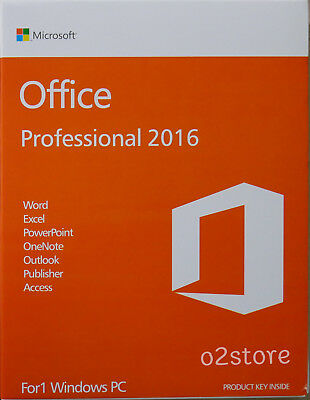 Microsoft Office Professional 2016 32/64 Bit Box - For Windows (1PC)