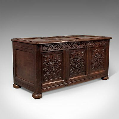Antique Coffer, English Oak Joined Chest, Queen Anne Circa 1700