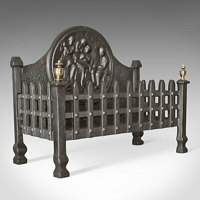 Antique Fire Basket, English, Victorian, Fireplace Grate Circa 1900