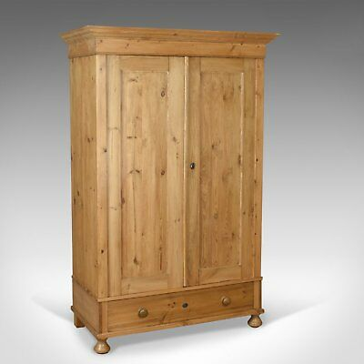 Antique Wardrobe, French Pine Compactum Cupboard Circa 1900