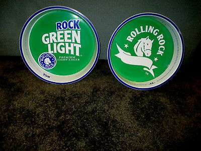 """Rolling Rock """"33"""" Pair of Beer Trays 13"""" Horse Head Latrobe Brewing Co. PA"""