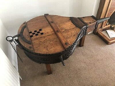 Antique French Forge bellows Made out of Elmwood I was told Made in to table