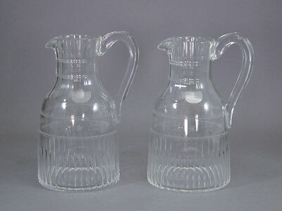 Early Whisky Water Jug Pair Engraved Georgian ? Victorian ? Glass Antique
