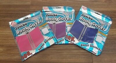 Its Academic Lot of 3 Jumbo XXL Stretchable Fabric Book Covers Pink Purple Blue