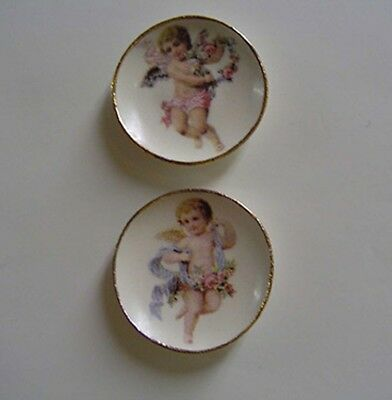 Dollhouse Miniature Victorian Cherub Plate Set