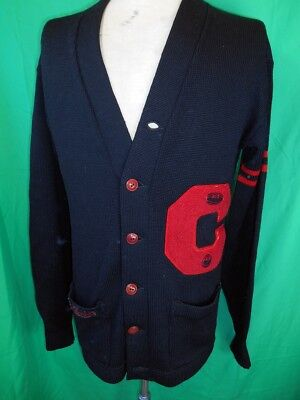 Amazing Vintage 1950s Black Knitted Imperial Knitting Co Letterman Sweater 44
