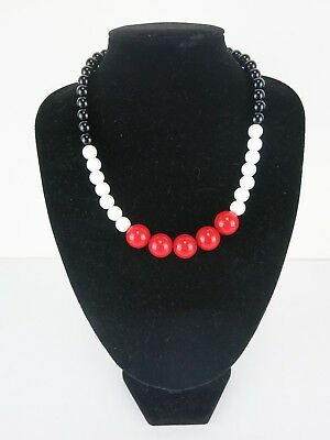 Gumball Necklace 20s 30s 50s Rockabilly PinUp Costume Bead Deco Black Red White